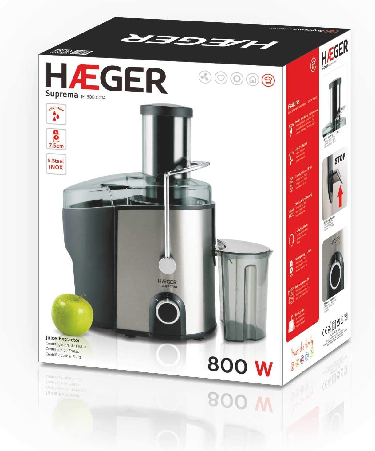 HAEGER Suprema - Licuadora de 800W, Cuerpo de INOX de 2 ...