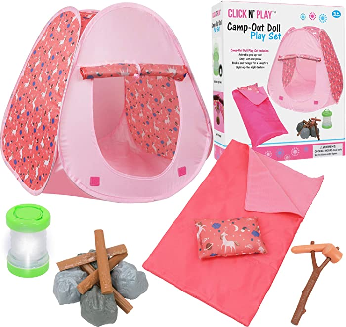 Click N' Play Doll Camping Set & Accessories Perfect for 18