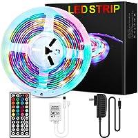 LONENESSL LED Strips Lights 5050 RGB 5 Meters 150 LEDs LED String Lights 44 Keys IR Remote Control for Bedroom, Kitchen…