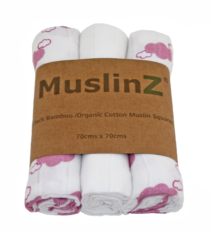 Muslinz 3pk 70/cms Bambou//coton bio en mousseline carr/és Blanc//rose lavande Cloud Print