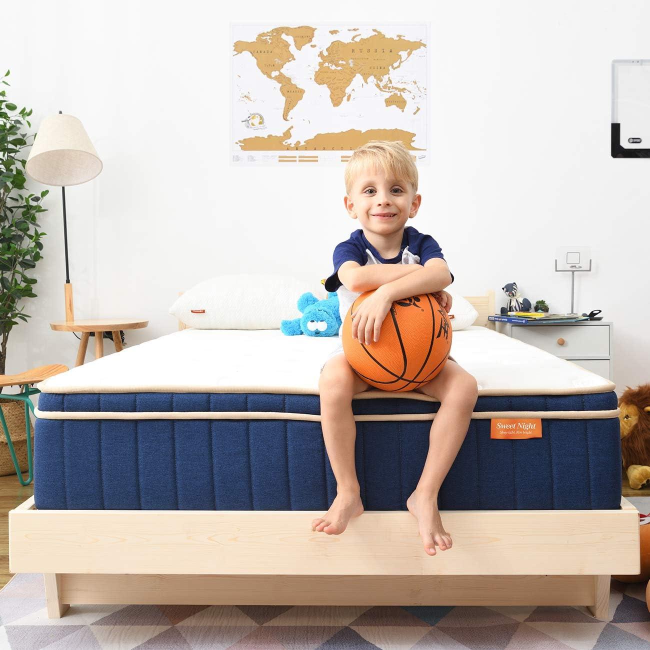 "Sweetnight Ocean Blue 8"" Hybrid Mattress   Gel Memory Foam & Individually Pocket Springs   Full Size: Furniture & Decor"