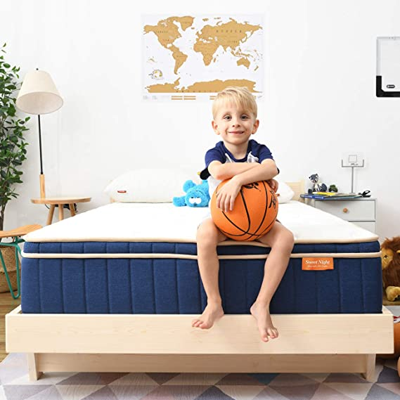 "Amazon.com: Sweetnight Ocean Blue 8"" Hybrid Mattress   Gel Memory Foam & Individually Pocket Springs   Twin Size: Furniture & Decor"