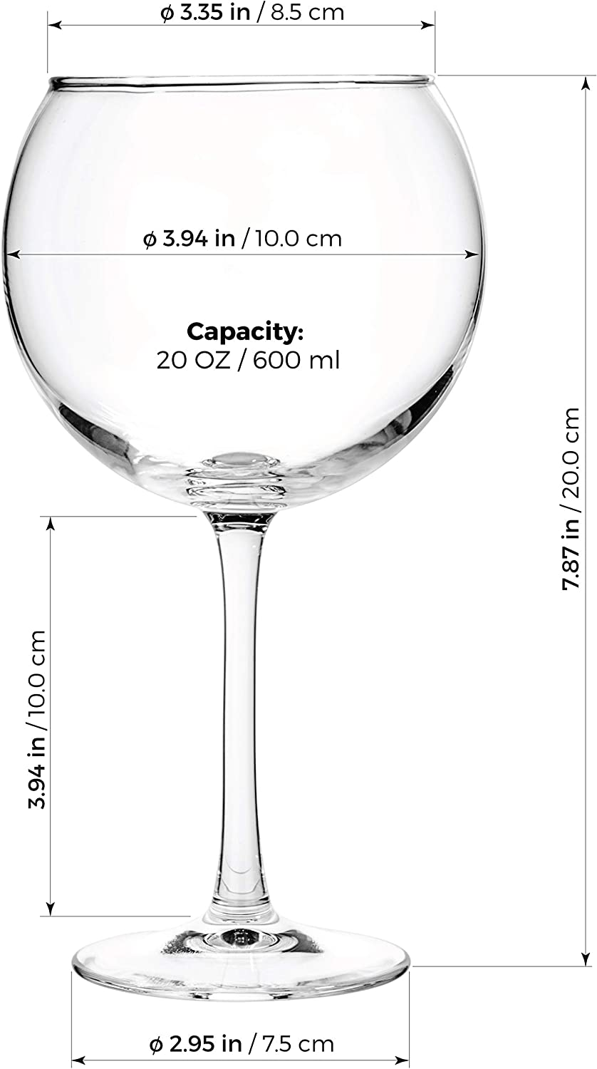 Professional Wine Tasting Luxbe Bordeaux Set of 4 Pinot Noir Lead Free Crystal Glass Large Handcrafted Red White Wines Glass Burgundy Crystal Wine Balloon Glasses 600ml