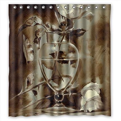 Amazon.com: PLATIM Polyester Bath Curtains Of Art Painting Flowers ...