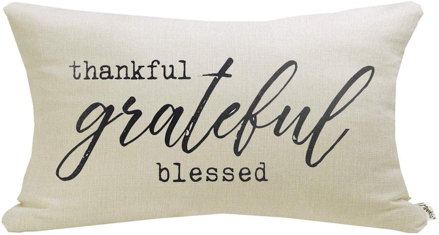 Meekio Farmhouse Pillow Covers with Thankful Grateful Blessed Quote 12 x 20 inch Farmhouse Rustic Décor Lumbar Pillow Covers with Saying Housewarming Gifts Family Room Décor