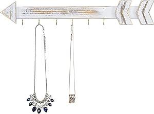 MyGift Wall Mounted Shabby Chic Whitewashed Wood Arrow Jewelry Organizer, 6-Hook Necklace Hanging Rack