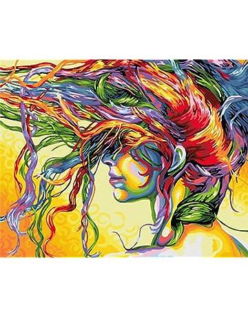TOCARE kit per pittura acrilica su tela fai-da-te con numeri 40,6 x 50,8 cm Lago di montagna per adulti e bambini