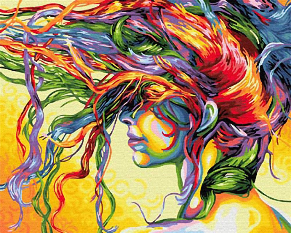 Paint by Number Kits for Adults Framed, DIY Painting Paint by Numbers on Canvas Painting Art Craft for Home Decoration, Colorful Dream Girl 16x20inch by Komidea