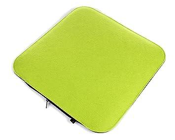Filz Sitzkissen In Grasgrün Und Dunkelgrau Zum Wenden, Waschbare  Stuhlauflage Mit Füllung Inkl. Reissverschluss