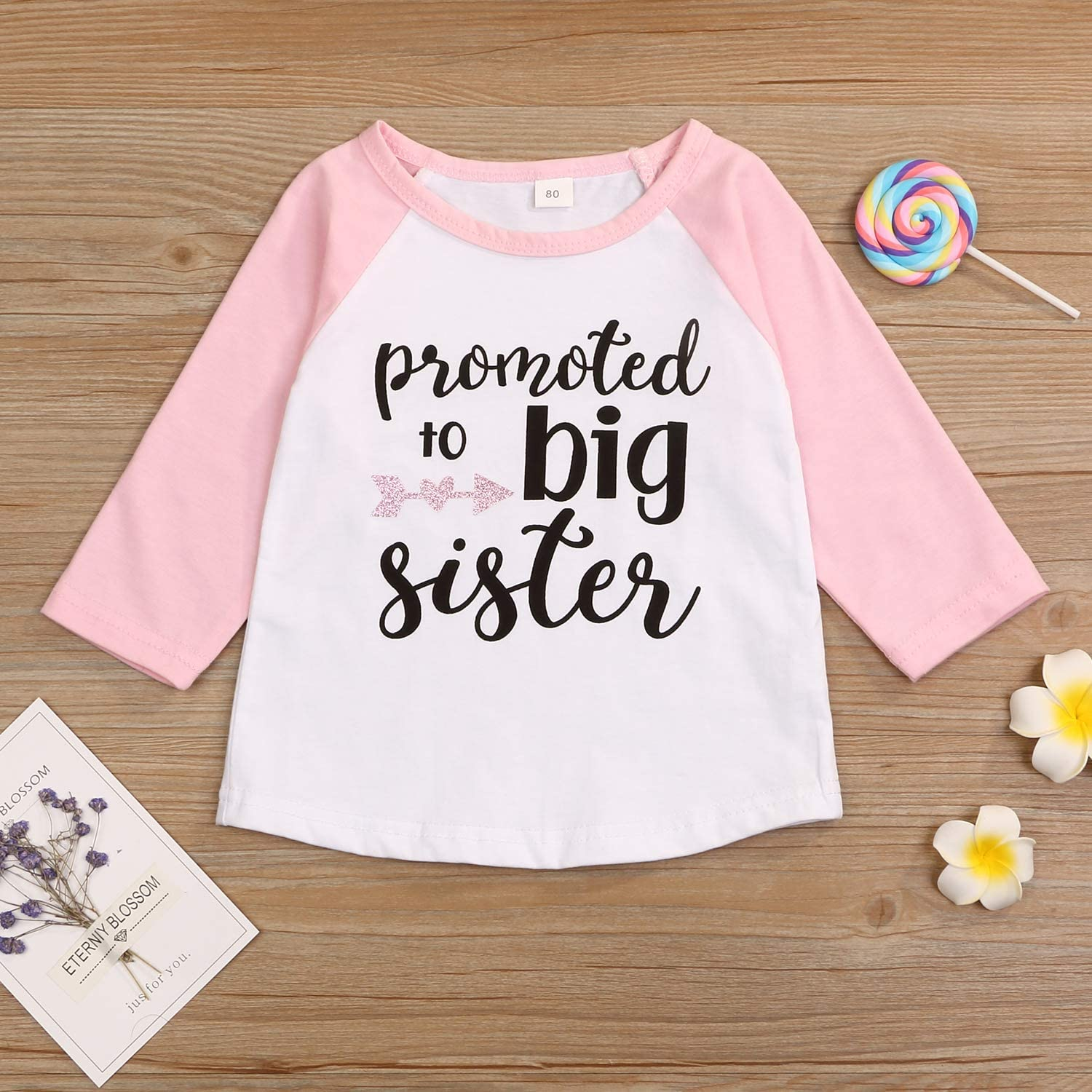 LYSMuch Toddler Baby Girls T-Shirt Promoted to Big Sister Letters Print Short Sleeve Blouse