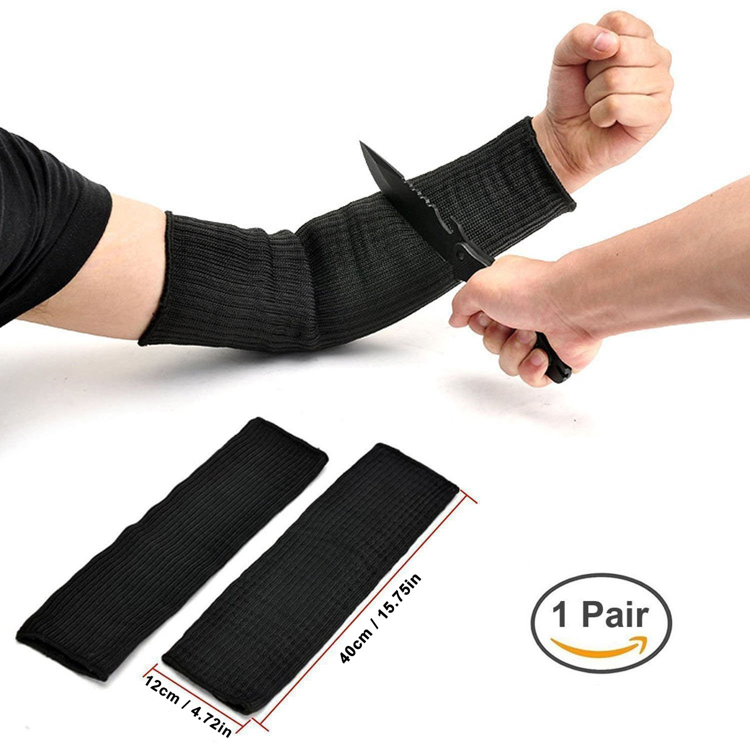 Joycentre Steel Wire Arm Protection Sleeve,Cut Resistant Anti Abrasion Safety Arm Guard for Garden Kitchen Farm Work 1 Pair (Black)