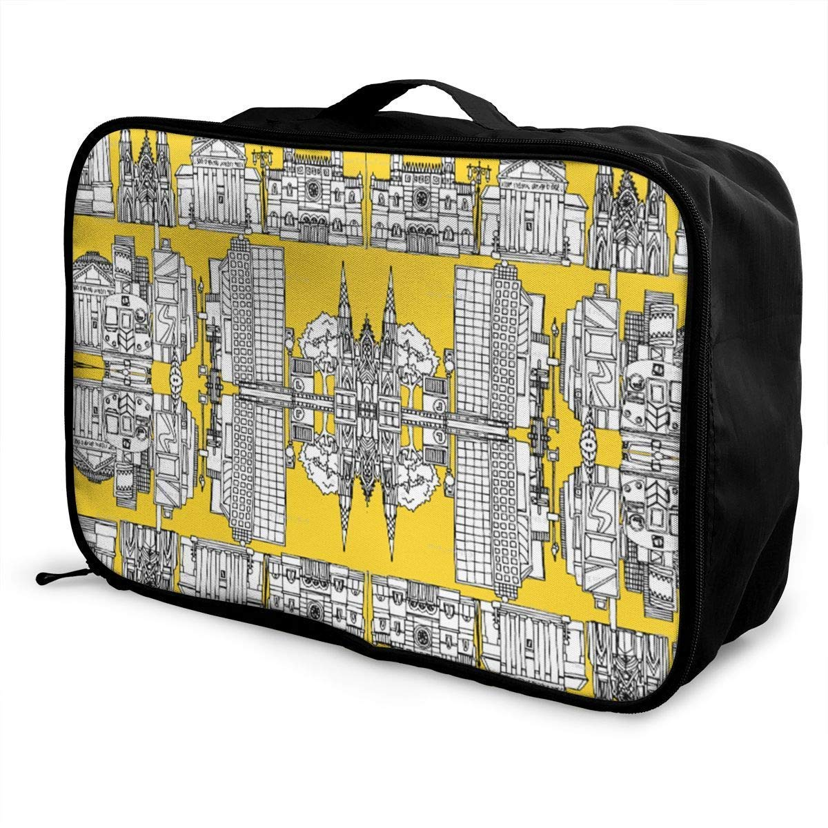 Portable Luggage Duffel Bag New York Yellow Travel Bags Carry-on in Trolley Handle JTRVW Luggage Bags for Travel