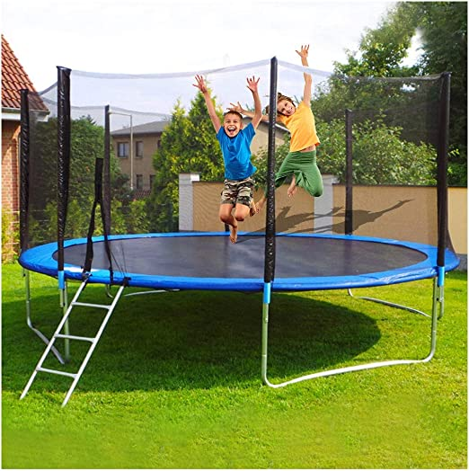 Trampoline with Safety Enclosure Net, 12 FT Round Bounce Jumper for Indoor Outdoor, Built-in Zipper Heavy Duty Frame, Kids Basketball Hoop Trampoline for Great Gift 12 FT