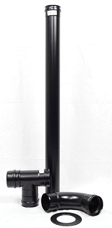 Humo Tubo Set 80 mm ACERO INOXIDABLE Negro con 1 m - Arco 90 ...