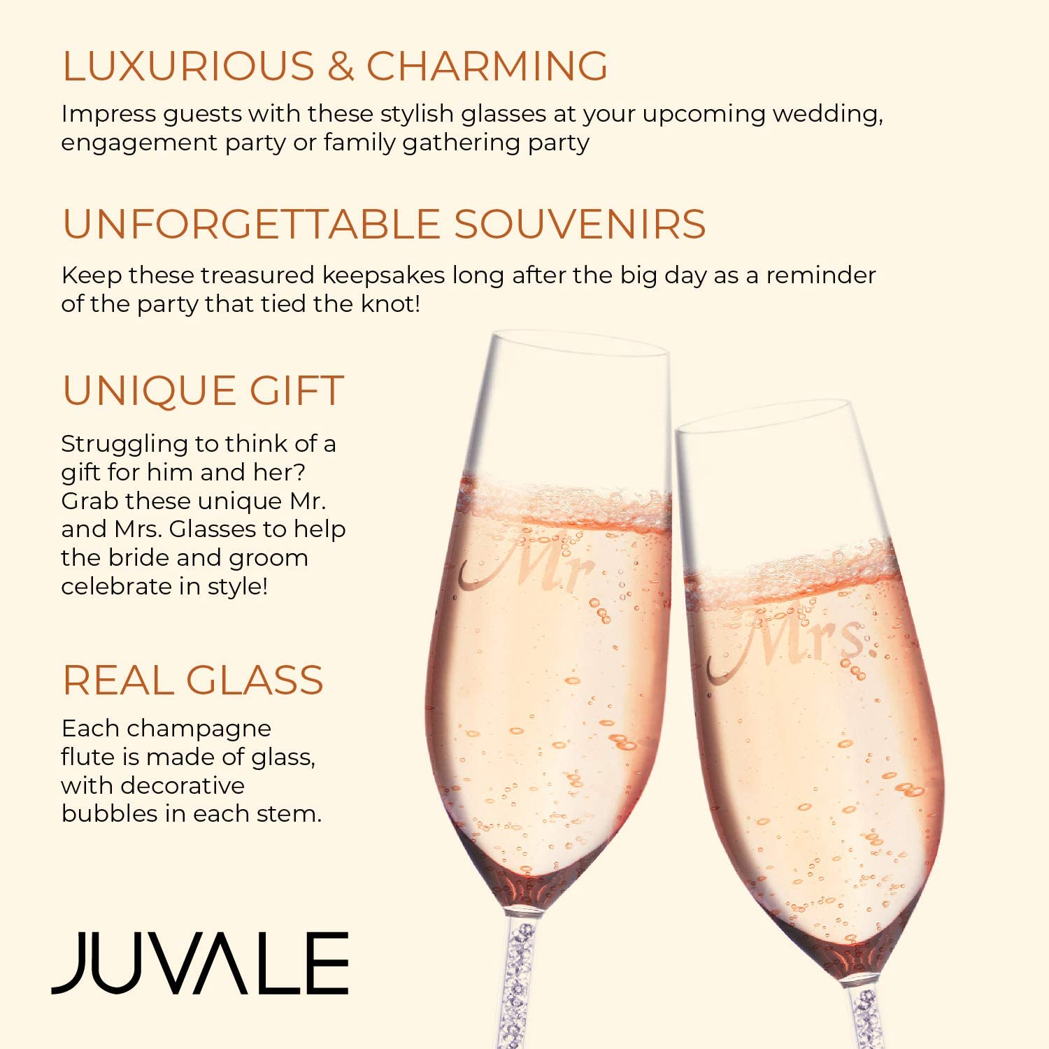 Juvale 2 Piece Set Wedding Champagne Toasting Flutes and Mrs Engraved Mr Glasses