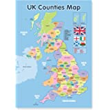 A3 Laminated UK Counties Map Educational Poster