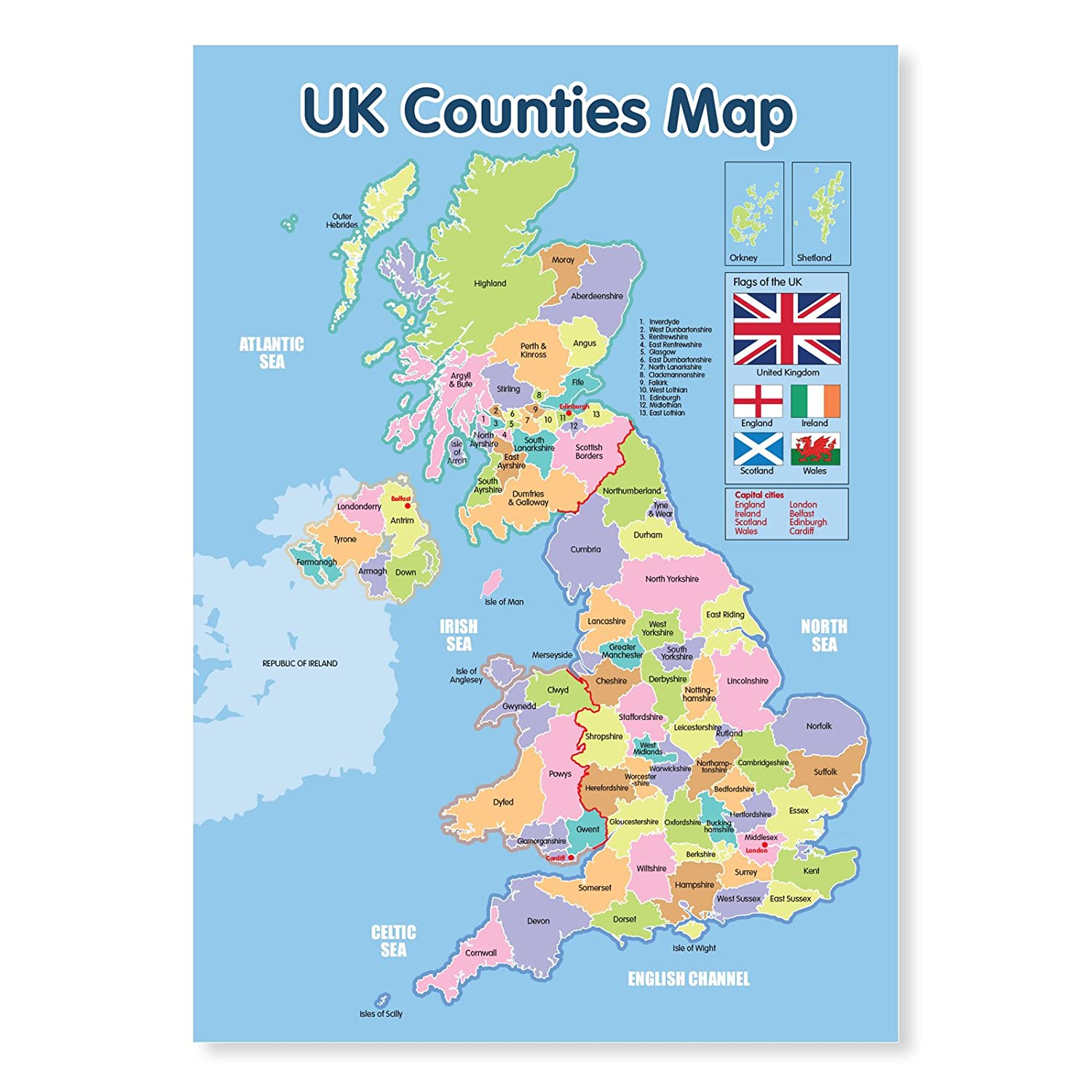 a laminated uk counties map educational poster amazoncouk officeproducts. a laminated uk counties map educational poster amazoncouk