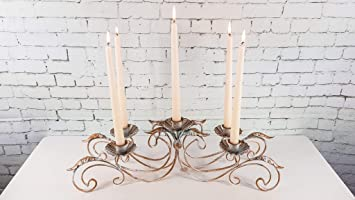 5 flammiger Kerzenleuchter-Gusseisen-antik weiss