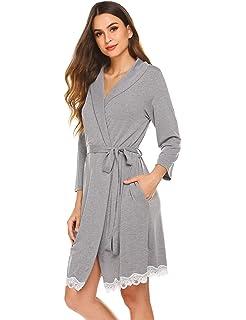 Avidlove Morgenmantel Damen Kurz Bademantel Kimono Spitze Langarm Schlafmantel Saunamantel Pyjama Robe
