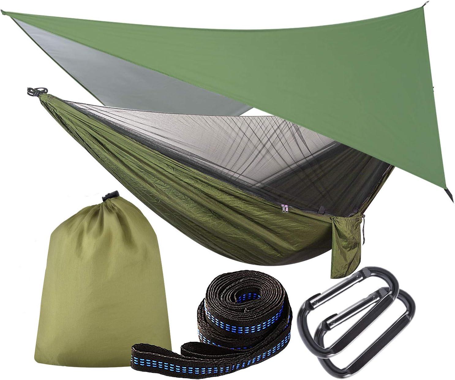 YunNasi582 Hamac Camping Moustiquaire Portable Ultra-l/éger de Voyage Ext/érieur Randonn/ée P/édestre /à Double Usage 200kg de Charge Capacit/é Parachute en Nylon 2 Sangles dArbres Carabiners Cordes