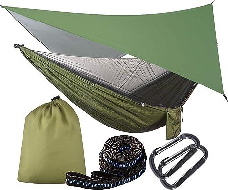 OTraki Hamaca con Mosquitera y Toldo Camping 200 kg de Capacidad de Carga Hamaca Jardín Exterior con Lona Tienda de Campaña Impermeable e ...