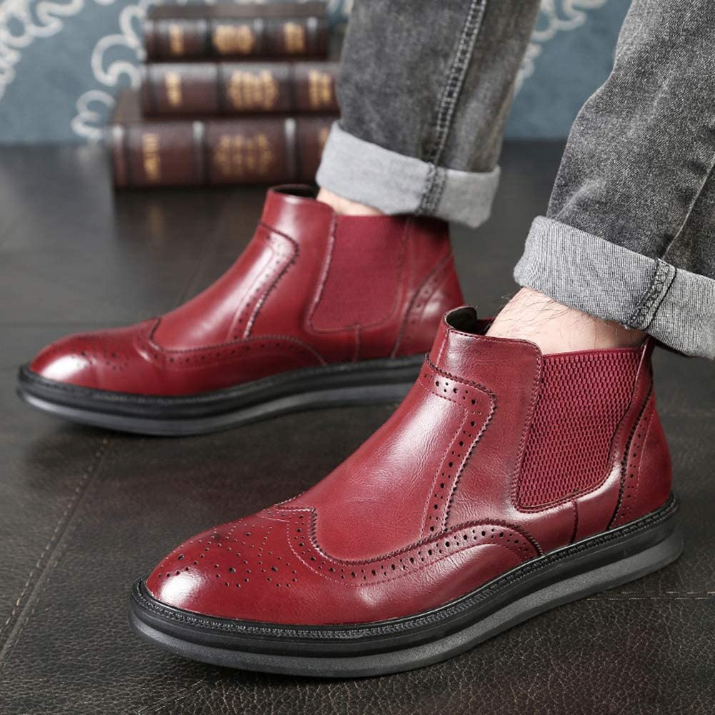Männer Chelsea Boots Ankle Fashion Solid Boots Slip-On Dress Schuhe Rot