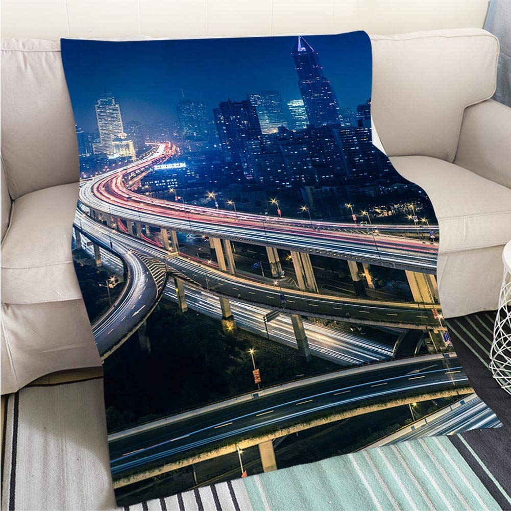 color19 39 x 59in Art Design Photos Cool Quilt Night View of The Bund Shanghai Hypoallergenic Blanket for Bed Couch Chair