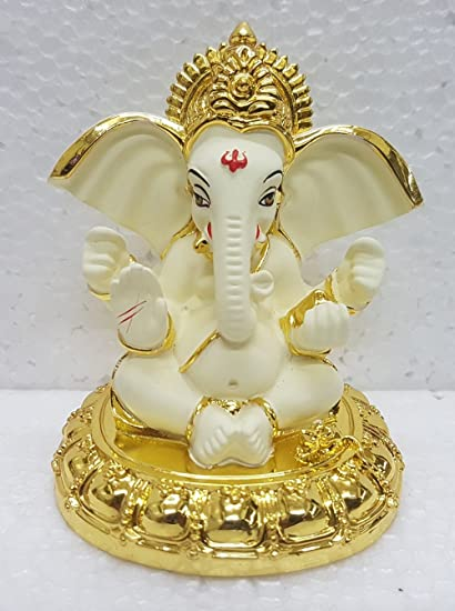Gold Art India Gold Plated Terracotta Big Ear Ganesha Car Dashboard Ganesha God Ganesh Idol Vinayaka Idol 8x7x7cm Gold And Off White