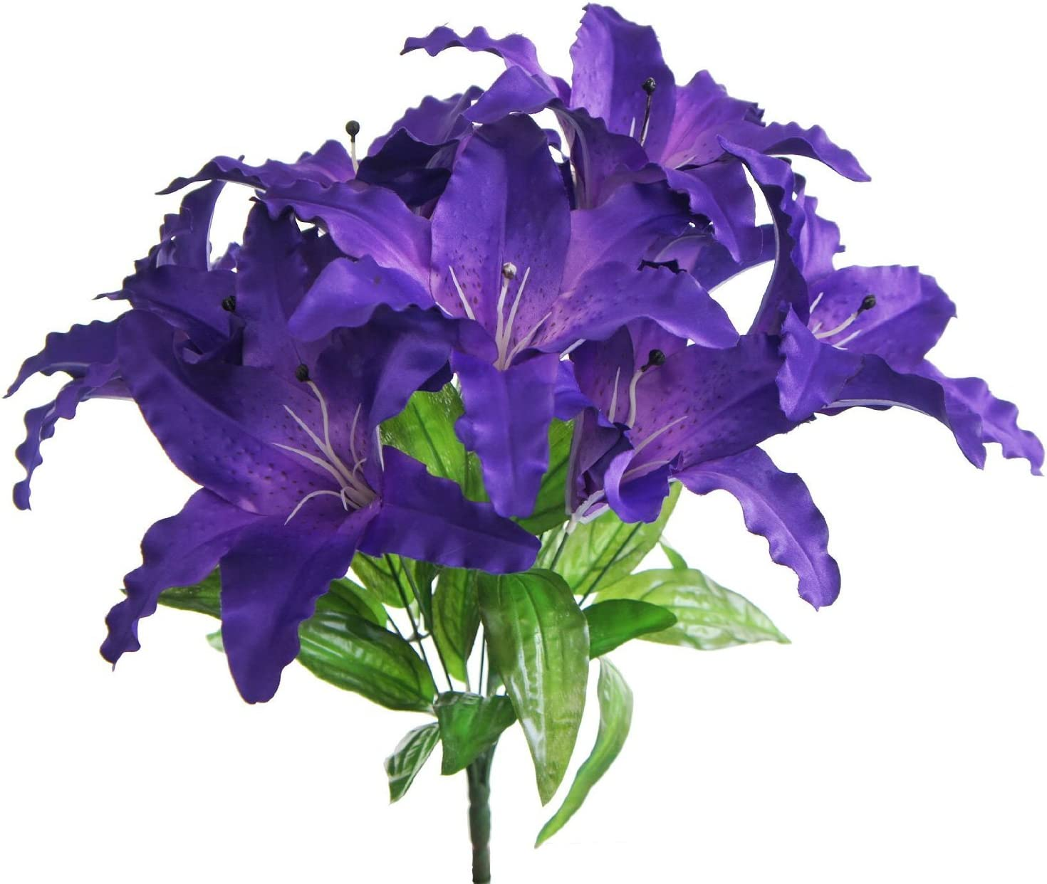 Lily Garden Large Tiger Lily 9-Head Silk Flowers Bush Bouquet Artificial (Purple)