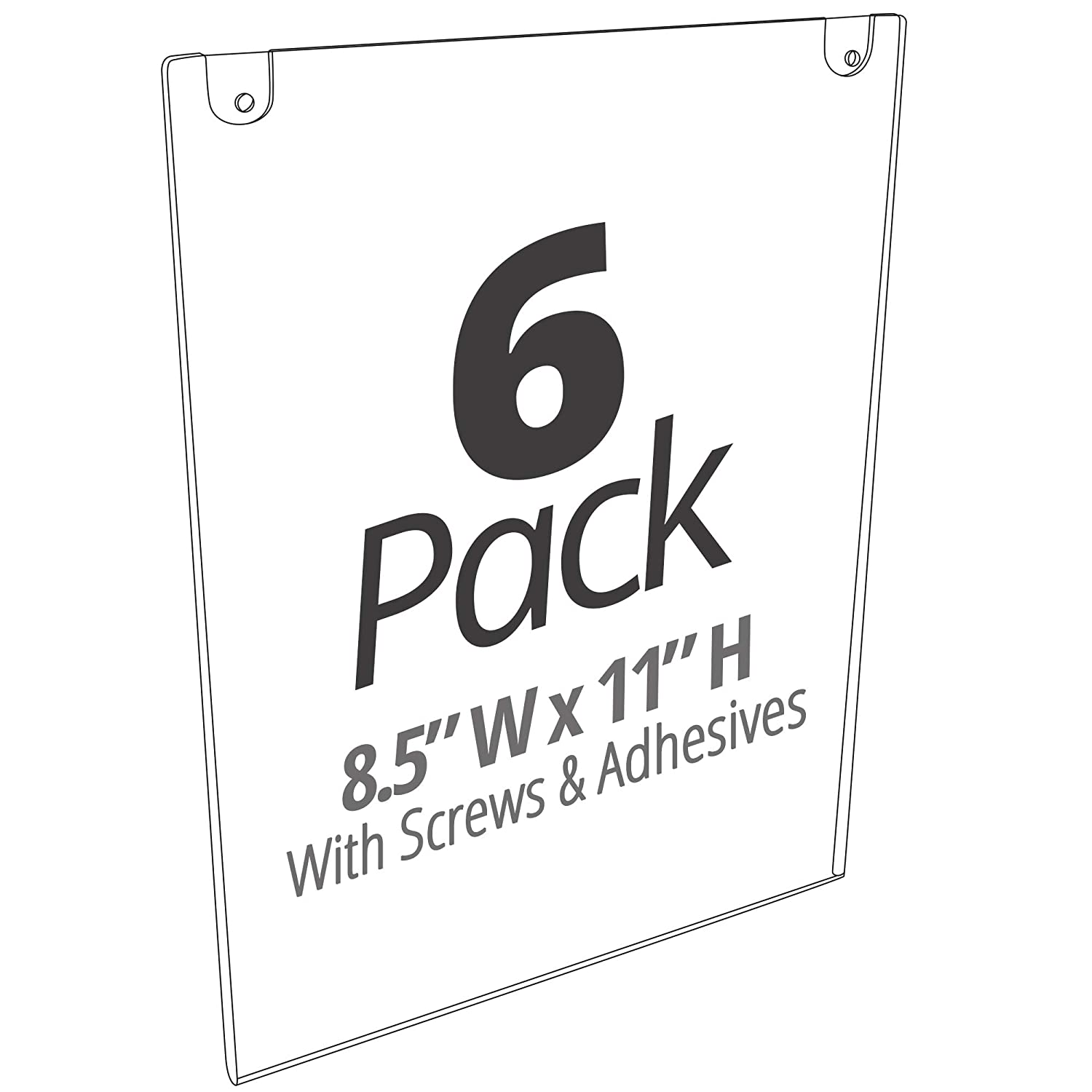 Mammoth Acrylic Wall Sign Holder 8.5 x 11 Inches, Thick & Durable Design, Stick On or Screw On, Screws and Double Sided 3M Tape Inclusive (Portrait 6 Pack)