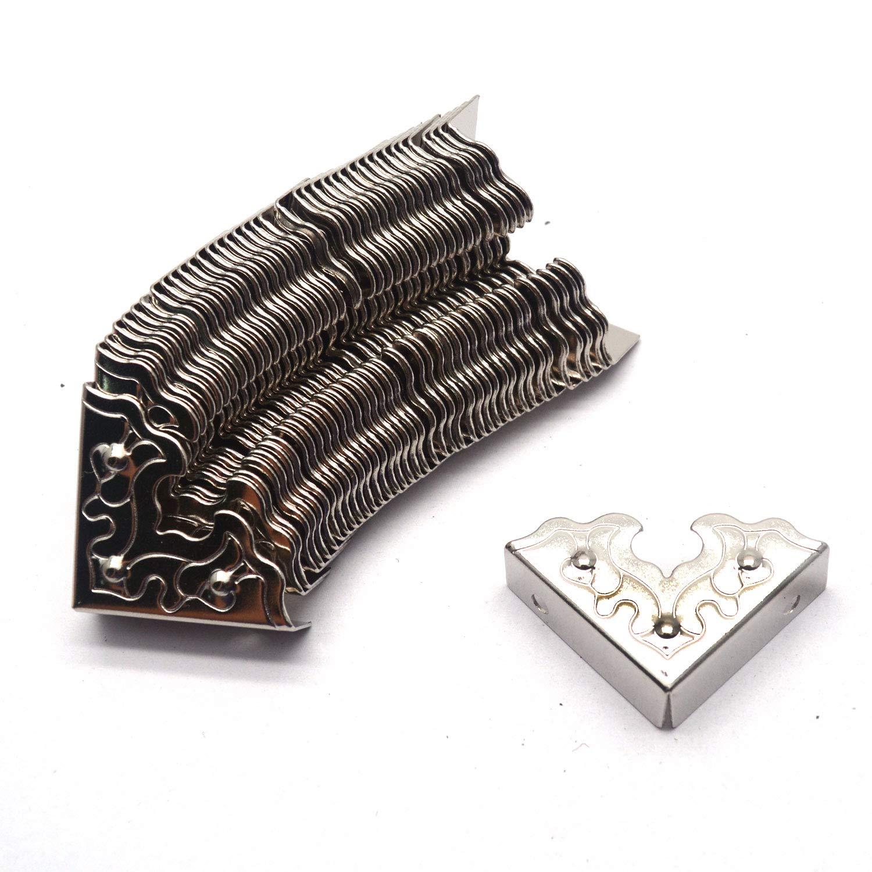 Tulead 40PCS Iron Corner Protector Decorative Corner Box Edge Protector Decorative Corner Protectors Silver,1