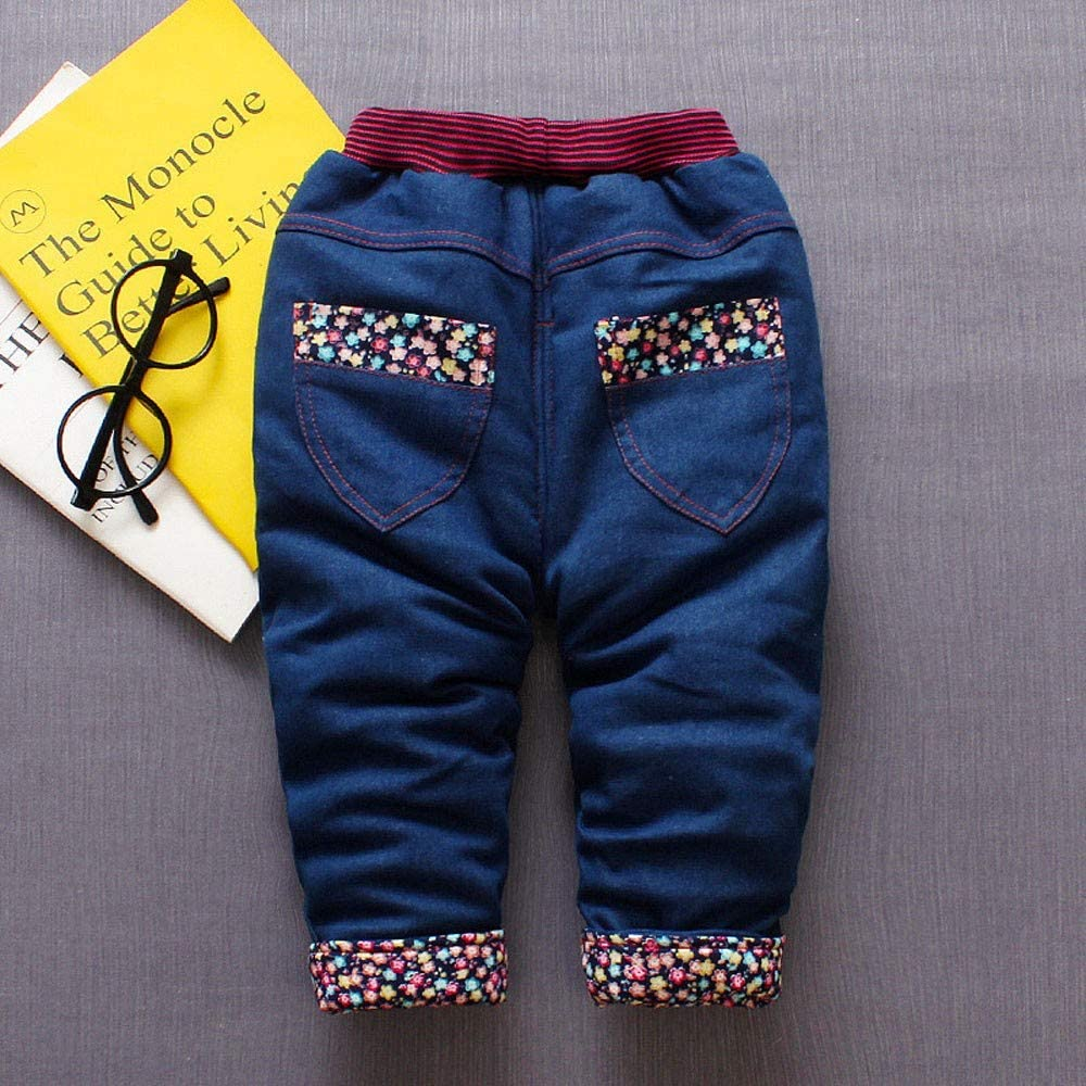 Infant Baby Toddler Girls Boys Fall Winter Jeans Pants Cartoon Rabbit Fruit Warm Thick Denim Trousers 6M-3T