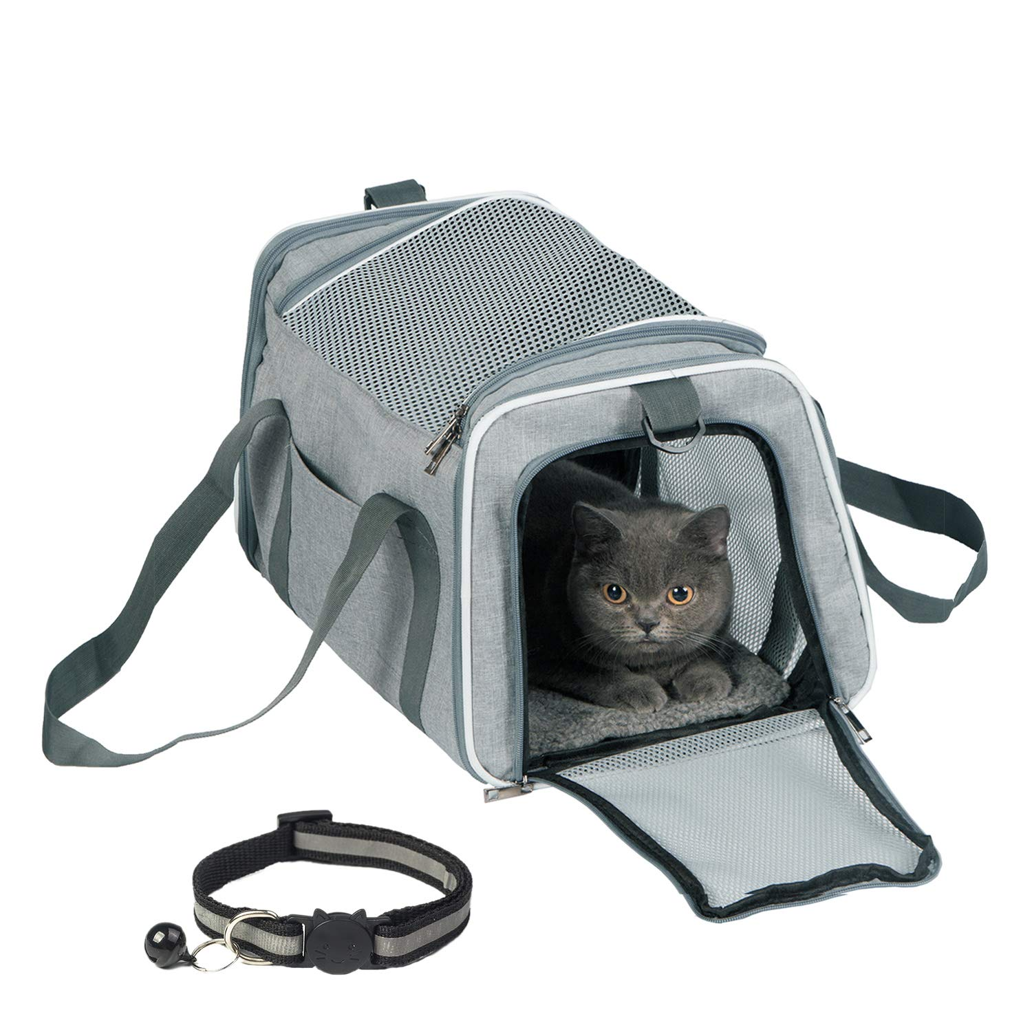 TCBOYING Airline Approved Cat Carrier,Soft Sided Pet Travel Carrier Medium Cat Carrier with Fleece Pad for Cats, Puppy…