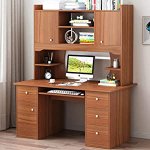 XM&LZ Large Computer Desk with Hutch and Bookshelf,47inches Simple Office Desk Workstation with Keyboard Tray,Study Writing Desk for Home-and 120x45x172cm(47x18x68inch)