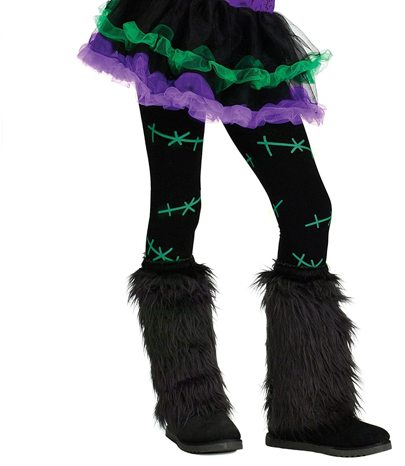Child Footless Tights Panyhose Black with Green Stitch S Girls Fun World 90333-GSS