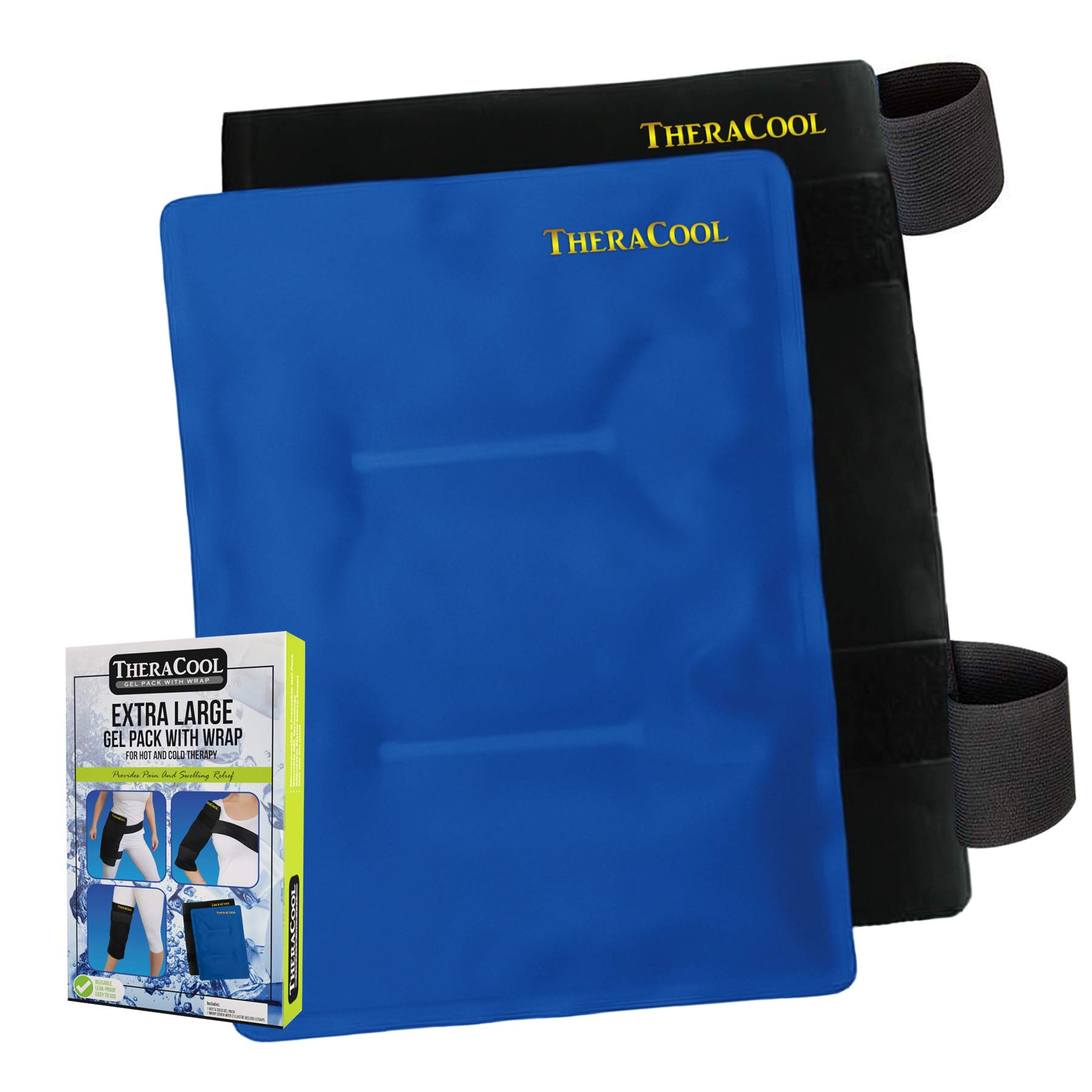 Ice Packs for Injuries Reusable Large Hot Cold Gel Pad Wrap w/Strap for Back Knee Shoulder Rotator Cuff Hip Replacement Elbow Arthritis Surgery Pain Relief Flexible Recovery Bag 14 x 11 by TheraCool by TheraCool (Image #1)