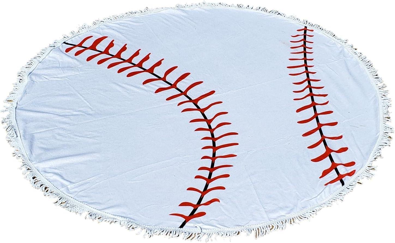 Baseball Round Beach Towel Blanket