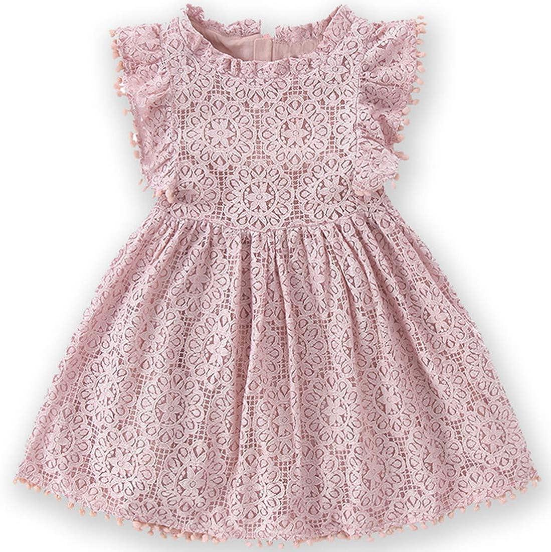 Niyage Toddler Girls Elegant Lace Pom Pom Flutter Sleeve Party Princess Dress