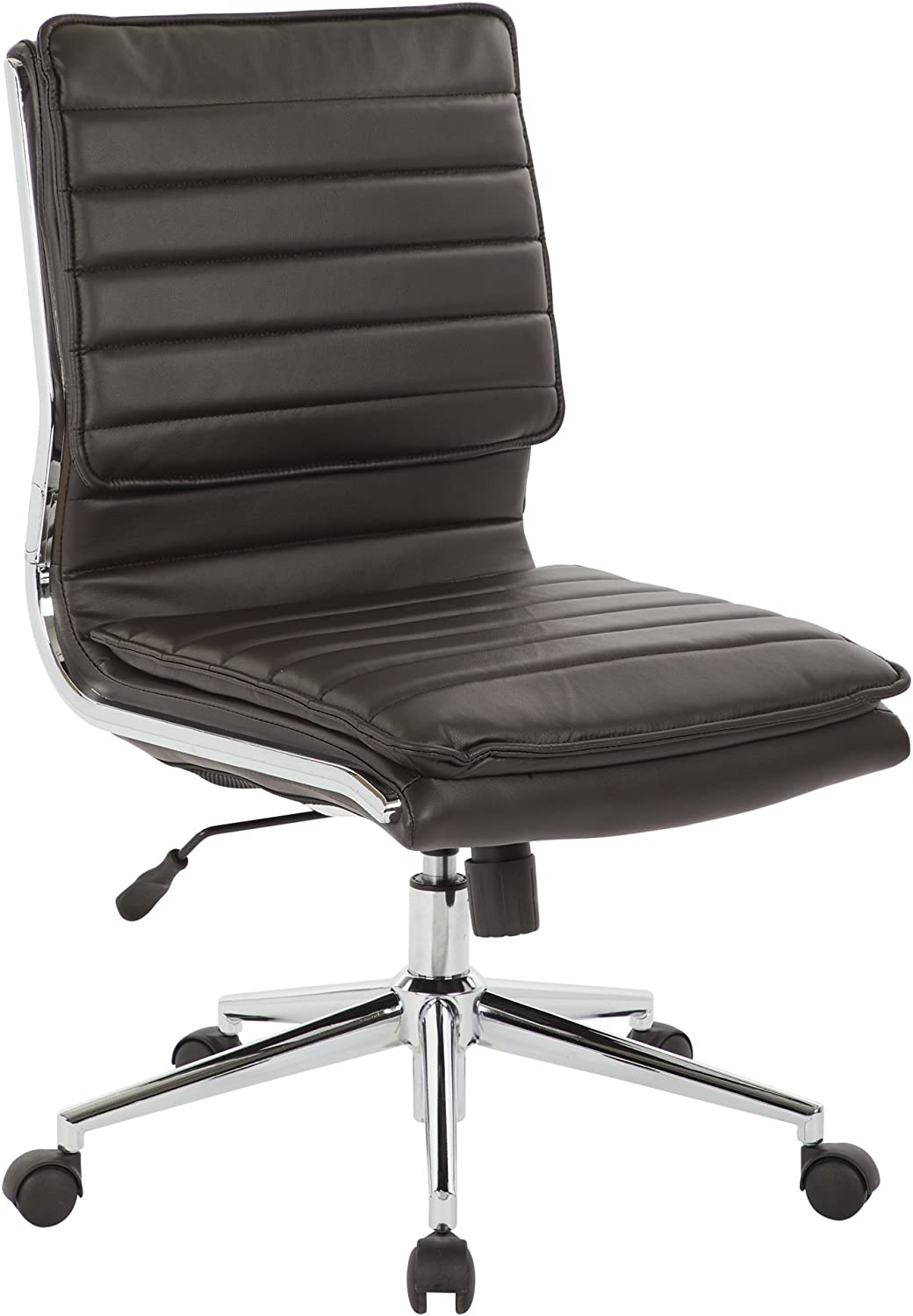 Office Star Faux Leather Armless Mid Back Managers Chair with Chrome Base, Espresso