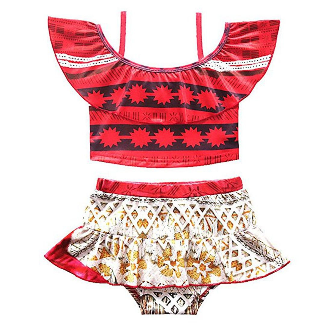 YiZYiF Kids Girls Two Pieces Ruffles Mona Adventure Swimsuit Swimwear Tankini Outfit Set Red 4-5 by YiZYiF