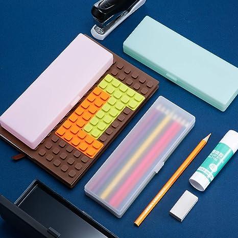 Estuche plástico de 4 piezas Estuche plástico con tapa con bisagras y cierre a presión para lápices, bolígrafos, brocas, suministros de oficina (multicolor): Amazon.es: Oficina y papelería