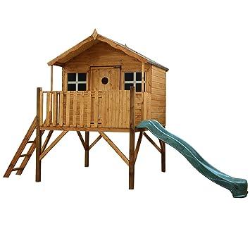 """Caseta infantil en madera, elevada y con tobogán, seguridad aprobada EN71, """"Honeysuckle"""
