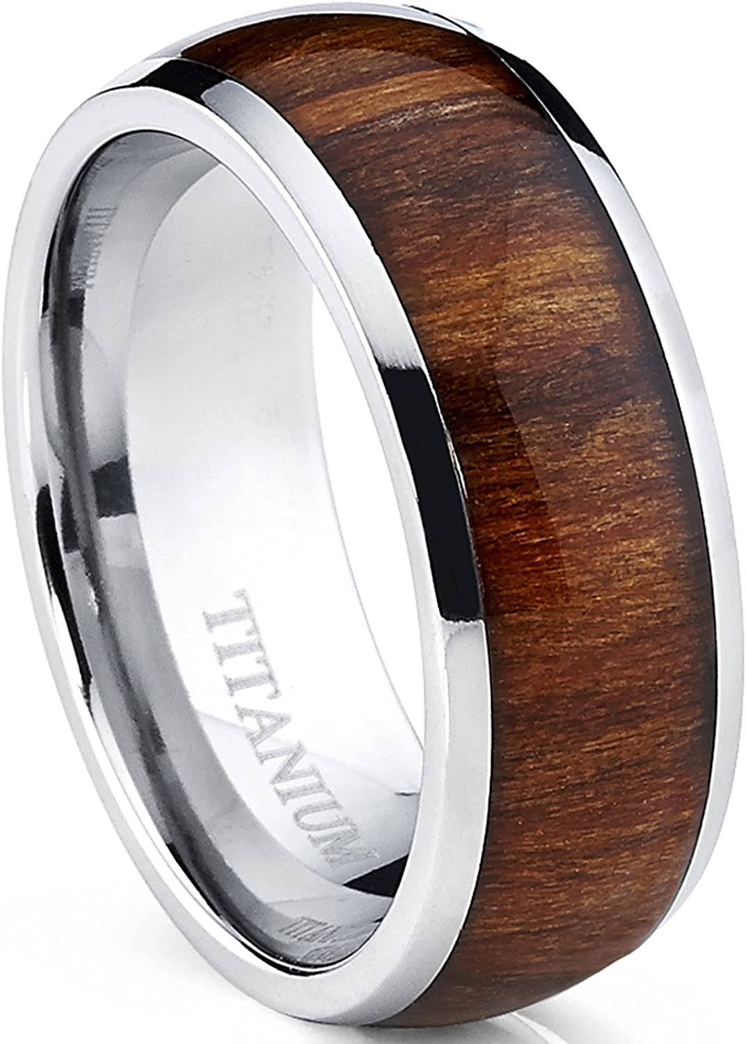 Metal Masters Co. Men's Titanium Ring Wedding Band, Engagement Ring with Real Wood Inlay, 8mm Comfort Fit Sizes 6 to 13