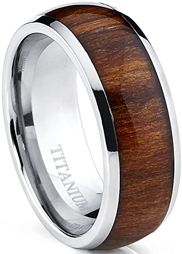 titanium ring wedding band engagement ring with real wood inlay 8mm comfort fit size - Wood Wedding Ring