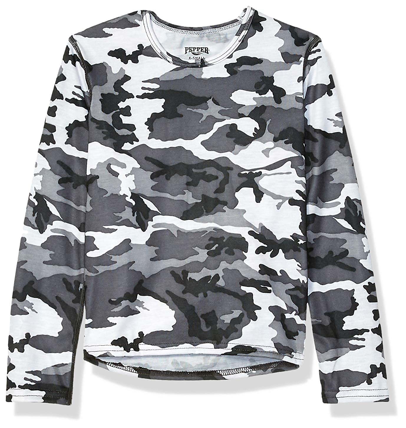 X-Large Hot Chillys Youth Pepper Skins Print Crewneck Storm