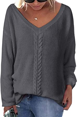 UK Womens Loose V Neck Knitted Jumper Sweater Ladies Casual Knitwear Tops Blouse