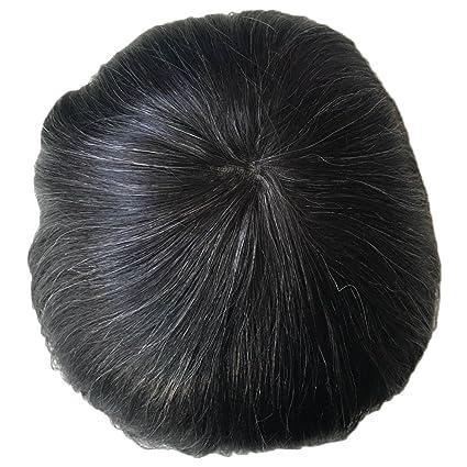 PANCY Peluca de recambio para cabello, color gris, de encaje francés, para cabello