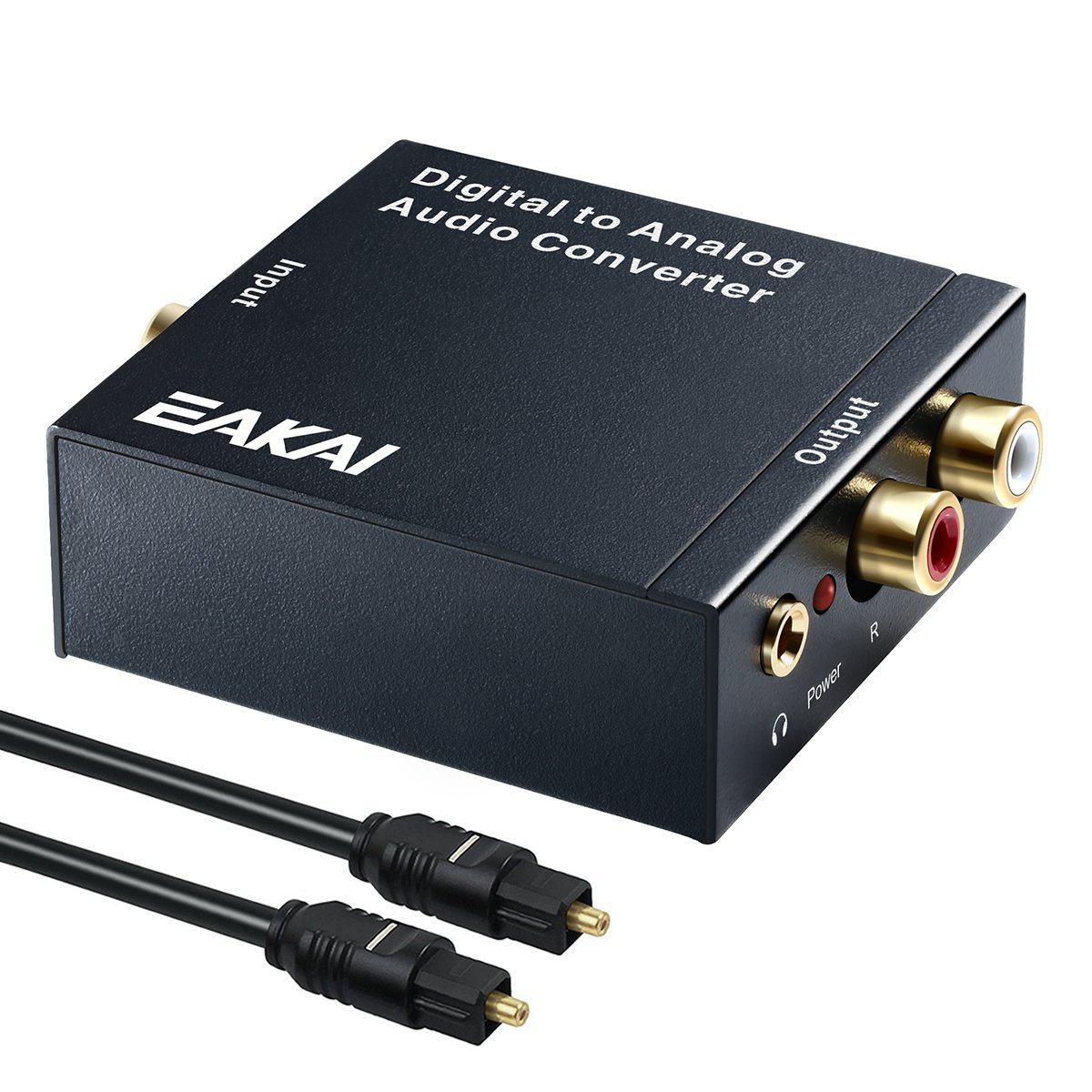 EAKAI Digital Optical Coax to Analog RCA Audio Converter with 3.5 mm Jack, 24-bit DAC with DC 5V Power Supply Adapter with Optical Cable for PS3 PS4 XBox DVD Apple TV Roku Player [USA UL Licensed] by EAKAI