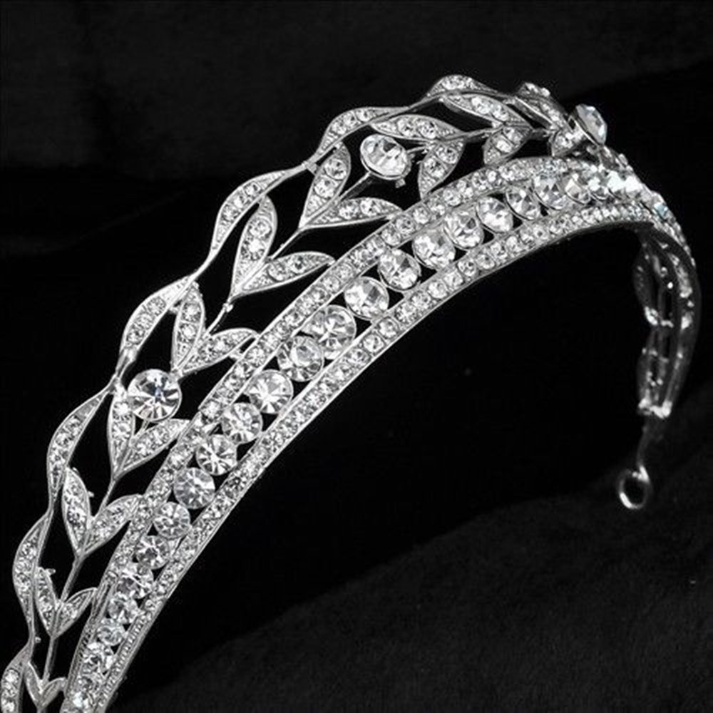 Sunshinesmile Wedding Bridal Tiara Crystal Silver Rhinestone Leaf Pageant Crown Veil Headband by Sunshinesmile