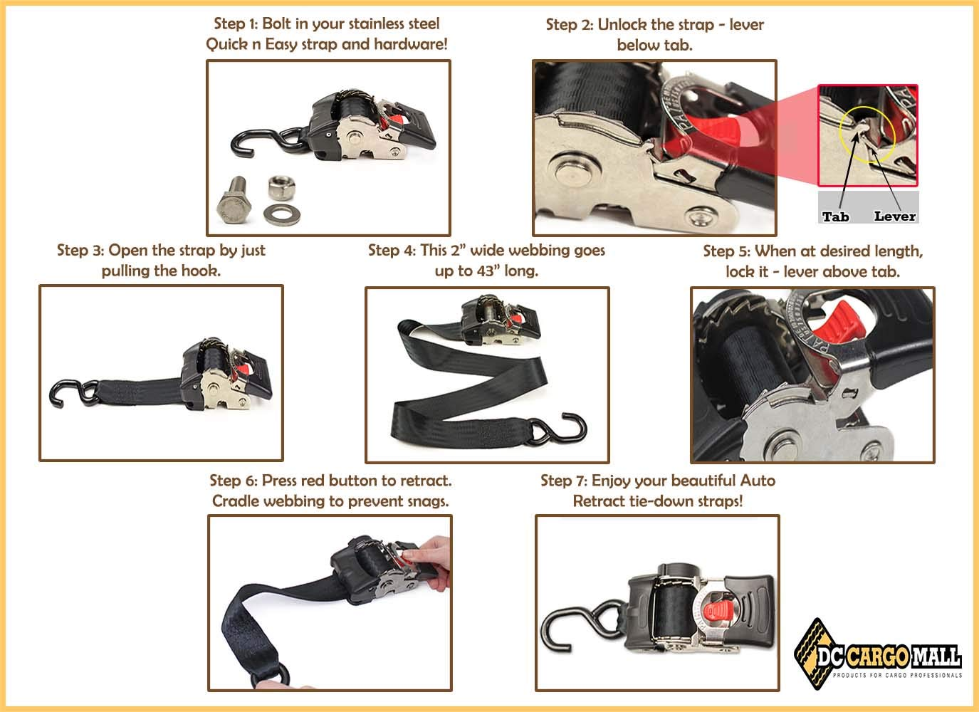 Bikes Pickups DC Cargo Mall ATVs in Trailers 2 x 43 Retractable SELF-CONTAINED Compact Bolt-on Cargo Strap Tiedowns for Motorcycles Trucks Garages 2 Auto Retract NO-RATCHETING Bolt-Down Ratchet Straps
